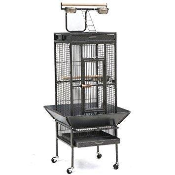 Gabbia per pappagallo grande di colore grigio scuro 156* 46* 46cm
