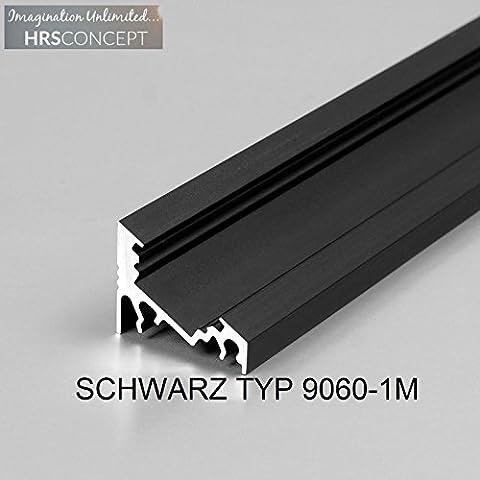 LED Alu Profil Leiste für LED Streifen / SCHWARZ TYP 9060 1M OPAL / HELITEC Aluminium Abdeckung Profil Streifen Schiene für LED-Strip Streifen Band