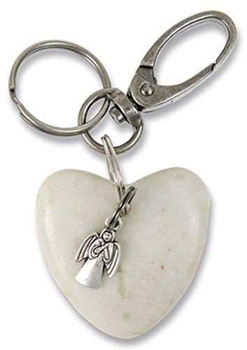 °° Schlüsselanhänger SCHUTZENGEL, Stein in Herzform, 4,5cm
