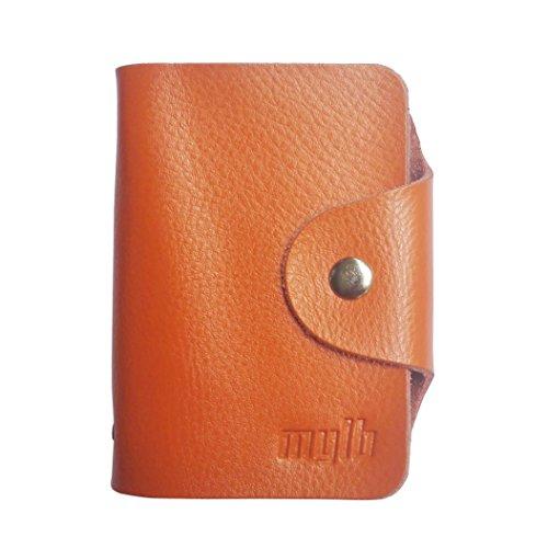 MYLB Porte 26 Cartes Crédit Bleue Visite Fidélité En Pochette Femme Homme En Cuir De Véritable (orange)