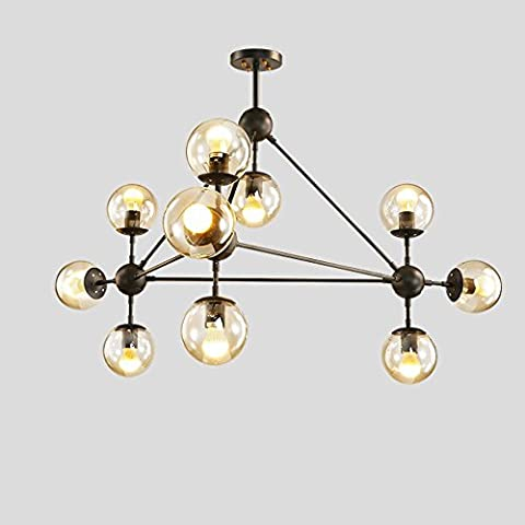 ZHOUZHOU Chandeliers for Dining Room Living Room Black Iron and