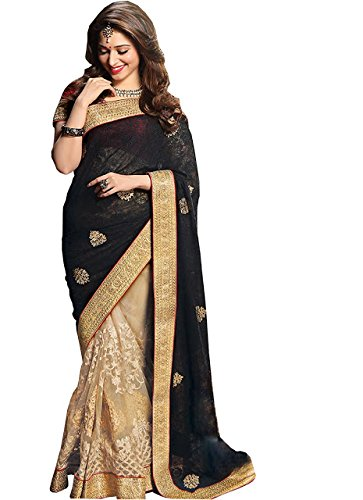 Adorn fashion Tamanna Bhatia Black & Cream Georgette & Net Saree  available at amazon for Rs.1700