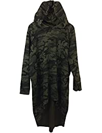 Damen Kapuzen Sweatshirt in Military Camouflage, Vokuhila, MADE IN ITALY