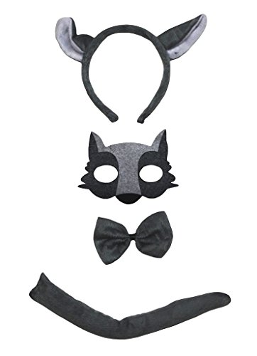 Petitebelle Wolf Headband Mask Bowtie Tail 4pc Costume for Child (One ()