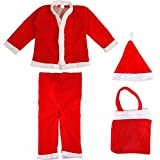 Ote Christmas Santa Claus Fancy Dress Costume For 5-6-7 Year Xmas Party For Boy Girl Kids Child (5-6-7 Years) - Multi Color
