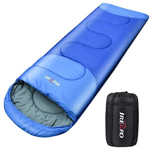iRegro 1800g Sac de Couchage pour Camping Randonnée et en Extérieur Professionnel, avec Imperméable Le Sac de Rangement(220x80cm)