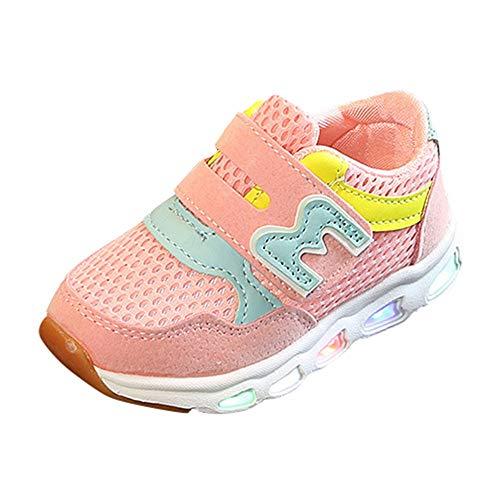 BBestseller Calzado deportivo para bebés, Niño emisores de luces LED zapatos casuales zapatos de piel brillante niños y niñas de calzado deportivo de moda
