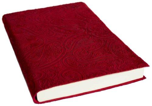 """Diario in pelle di vitello italiana """"Bellagio Cashmere"""" rosso realizzato a mano, formato A5 (15cm x 21cm)"""