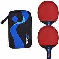 Dilwe Raqueta de Tenis de Mesa 1 par Set de Tenis de Mesa Profesional con Funda Protectora(Pen-hold grip bat)