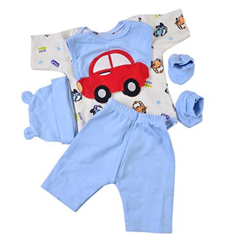 Fenteer Weiche Babypuppe Kleidung Set mit verschiedenen Muster für Junge oder Mädchen Puppe - Auto, 22-23 Zoll - Kleidung Puppe Muster