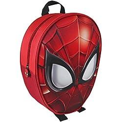 Mochila 3D infantil de Spiderman 100% Licencia Original/Mochila 3D Escolar Spiderman 31cm, Medidas 25x31x10cm Color Rojo