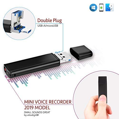 Spionage Diktiergerät Stimmenaktivierung USB Stick | 26 Stunden Batterie | microUSB Stecker für Smartphone Kompatibilität | 8GB – 94 Stunden Kapazität