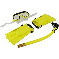 HONGIGI Plongée sous-Marine Masque de plongée Tube Respirant Longues Palmes Pieds Palmes 3pcs Tubas Ensemble équipement d'entraînement de Piscine 1 Set (Couleur: Jaune)