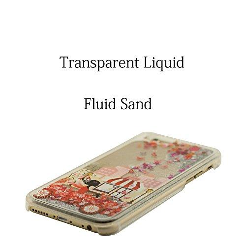 Joli Svelte iPhone 6S Coque Anti choc, Clair Transparent Rigide PC Case pour Apple iPhone 6 4.7 Pouce + 1 Stylet, Écoulement Sable Liquide Eau Conception Fille Style Peinture Motif Étui Blanc-1