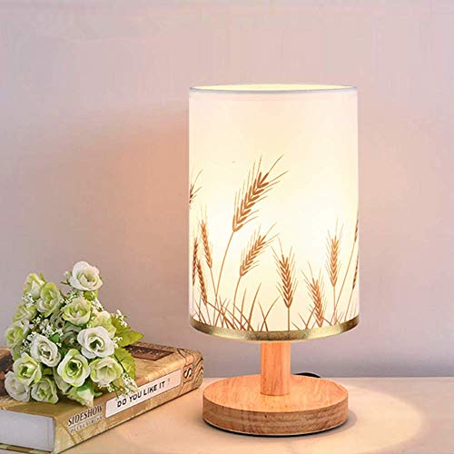 ELINKUME lampe de chevet en bois, abat-jour en tissu assorti au corps de lampe en bois massif, lampe de table de simplicité nordique pour le salon de la chambre