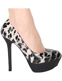 High Heels Peeptoe Plateau im Italy Design Satin 15 cm schwarz weiss Leopard