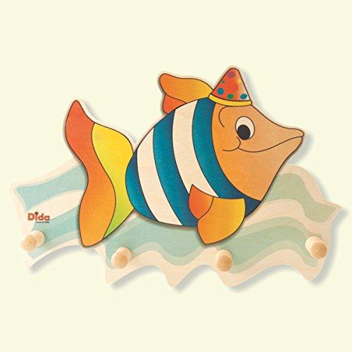 Dida - Wandgarderobe für Kinder aus Holz, dekoriert mit dem Meerestier Fisch für das Kinderschlafzimmer