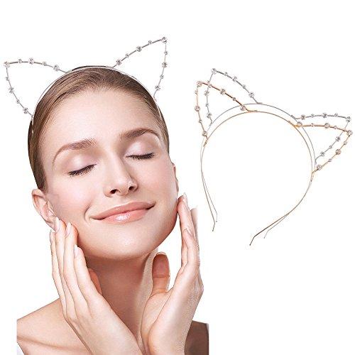 Kostüme Einfache Frauen Für Cat (loaver 2Pack Kristall Cat Ohren Headbands Strass Party Haargummis für Frauen, Gold und)