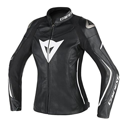 Dainese Assen Damen Frauen Leder Motorradjacke, Schwarz/Weiß, Größe 40