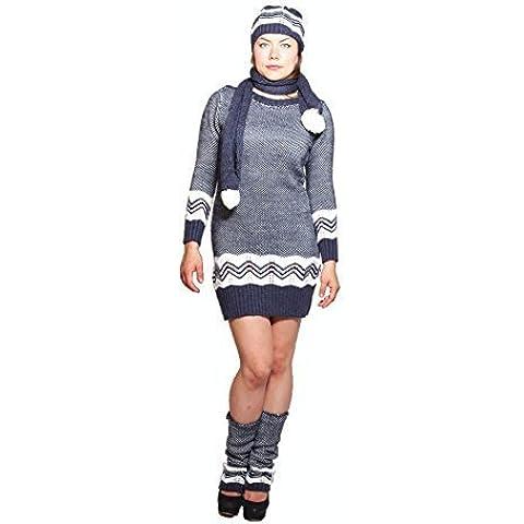 By Kazakci-Maglione in lana da donna, con scaldamuscoli abiti, sciarpa e (White Pattern Sciarpa)