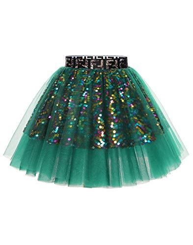MuaDress 1988 Mini Tüllrock Shimmer Glam Pailletten verziert Tutu Sexy Festliche Kostüm mit Leopard Grün L