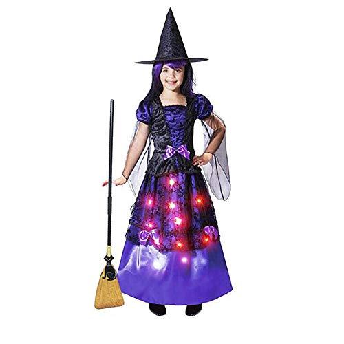 Up Kostüm Baby Light - Yqihy Halloween Cosplay Kostüm Light-up Sparkle Hexe für Mädchen, mit enthaltenem Zubehör