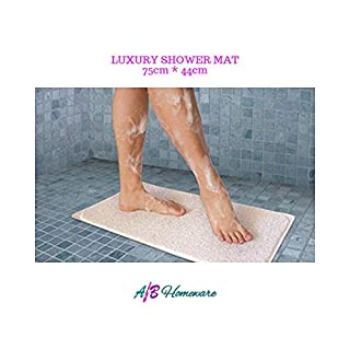 A&B HOMEWARE EXTRA LONG NON SLIP LOOFAH SHOWER TUB BATH CARPET MAT - HYDRO SHOWER BATH MAT - MACHINE WASHABLE 75cm x 44cm Delivery Fast & Free