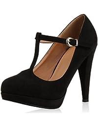 Damen Pumps Mary Janes Blockabsatz High Heels T-Strap