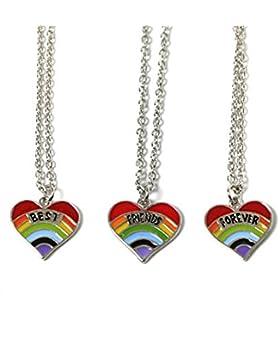 Freundschaftsketten mit Anhänger Best Friends Forever Motiv Regenbogen-Herz 3-teilig