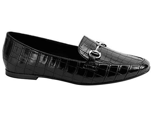Greatonu Damen Geschlossene Ballerinas Loafers Horsebit Buckle Flache Freizeit Schuhe Burgundy Schlangen Größe 36 EU -