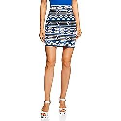oodji Ultra Mujer Falda Básica de Punto, Azul, ES 34 / XXS