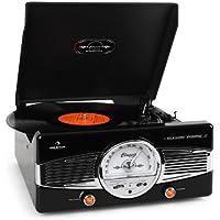 Auna MG-TT-82B • estéreo • tocadiscos • accionamiento por correa • máx. 45 rpm • altavoces estéreo • diseño de los años 50 • Play/Stop automático • sintonizador de radio • receptor de FM • negro