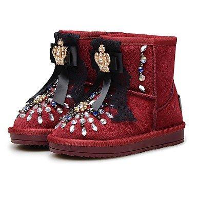 Kinderschuhe Leder Winter Komfort Flower Girl Schuhe Snow Boots Stiefel Mid-Calf Strass Perlen Funkelnden Glitter Für Party &, Wein, Us9.5/Eu 26/Uk8.5 Toddle (Glitter Wein)