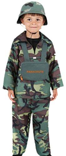 Kostüm Gefängnis Officer - Halloweenia - Jungen Army Kostüm, 140, Grün
