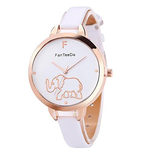 Reloj de Cuarzo con Esfera Blanca de Elefante para Estudiantes, Hombres y Mujeres, Color Blanco