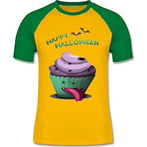 Halloween - Halloween treats - zweifarbiges Baseballshirt für Männer Gelb/Grün