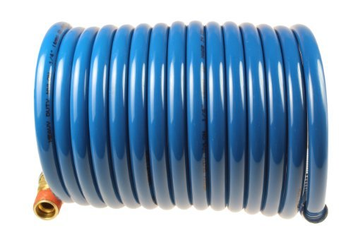 Coilhose Pneumatics S14-12B Stowaway Heavy Duty Nylon Coiled Air Hose, 1/4-Inch ID, 12-Foot Length with (2) 1/4-Inch MPT Swivel Fittings by Coilhose Pneumatics -