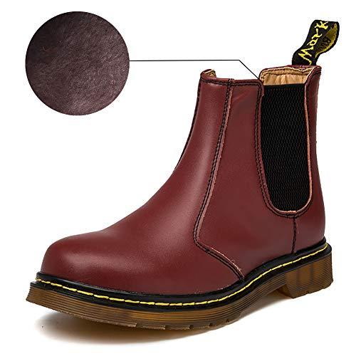 Orktree Unisex-Erwachsene Chelsea Boots Damen Stiefel Wasserdicht Kurz Stiefeletten Schuhe Winter Warme Gefüttert Herren Boots Kirschrot