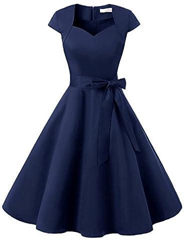 Dressystar DS1955 Women Vintage 1950s Swing Cap Sleeevs Prom Dresses V Neck M Navy