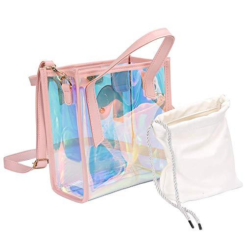 Einfacher Retro-Stil Frauen Transparente Gelee Handtasche, Mädchen Holographische Tote Umhängetasche PVC Lässige Umhängetasche mit Kordelzugbeutel (Schwarz) Geeignet zum Einkaufen unterwegs -