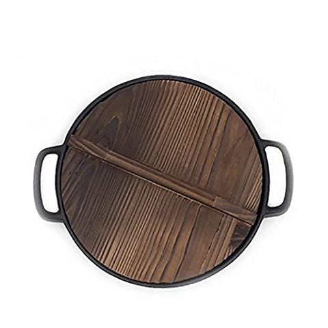 Pan / frying pan / thicker / cast iron / binaural / pancakes / pig iron pan / non-stick / no coating , black+Wooden cover , 28cm