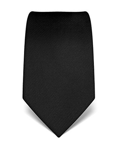Vincenzo Boretti Herren Krawatte aus reiner Seide, ton in ton gestreift schwarz (Krawatte Seide Schwarze)