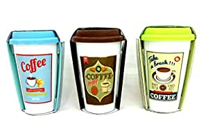 Retro Ceramic Coffee Travel Mug in 3 Colours Blue, Lime Green and Brown