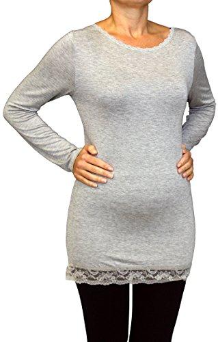 0183 Damen Langarm Shirt mit Spitze, Basic Shirt, Viskose, one size, Italy. Hell Grau