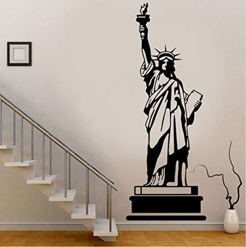 Lvabc Große Größe New York Wahrzeichen Gebäude Freiheitsstatue Wandaufkleber Wohnkultur Wohnzimmer Vinyl Abnehmbare Schwarz Wandbild 42X114 Cm