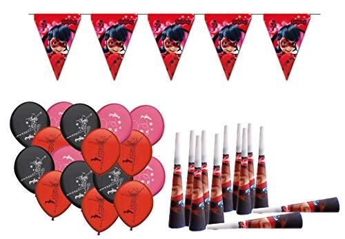 ALMACENESADAN 0470, Party und Geburtstag Dekoration Pack Lady Bug, 16 Ballons, 12 Trompeten, 1 Marienkäfer 3 Lineare Banderin