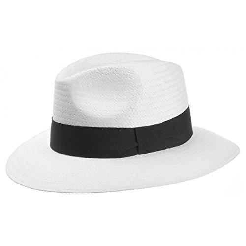 Lipodo White Traveller Strohhut weiß Damen und Herren | Größe XL 60-61 cm | Sonnenhut für den Urlaub | weißer Herrenhut aus Stroh mit Ripsband | Hut Frühling/Sommer