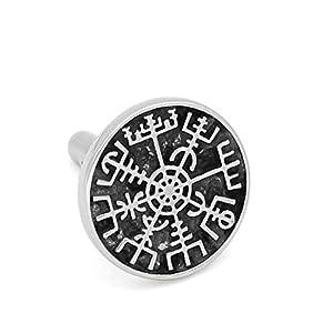 GuoShuang Rostfreier Stahl nordisch Wikinger Rune Kompass Amulett Manschettenknöpfe Kleine Größe mit Valknut Geschenktasche