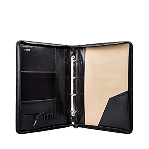 Maxwell Scott® Luxury Italian Leather A4 Ring Binder Folder (Veroli), Night Black