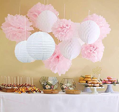 Furuix Pompons fleurs et boules en papier de soie à suspendre. Décorations idéales pour mariage,jardin, nurserie, lot de 12. Blanc/rose